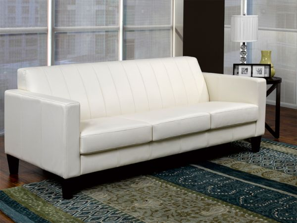 Metropolitan 200 -  Living Room White Leather Sofa by LeatherCraft Furniture - Manufacturer of Top Grain Leather Sofa based in Toronto, Canada having dealer in Brampton, Vaughan, Pickering, Mississauga, Oakville, Scarborough, Kingston, Sudbury, Quebec and Other provinces of Canada