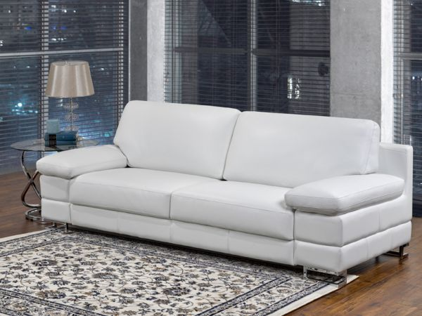 Rayburn - Luxury Leather Living Room White Sofa by LeatherCraft Furniture - Manufacturer of Top Grain Leather Sofa based in Toronto, Canada having dealer in Brampton, Vaughan, Pickering, Mississauga, Oakville, Scarborough, Kingston, Sudbury, Quebec and Other provinces of Canada