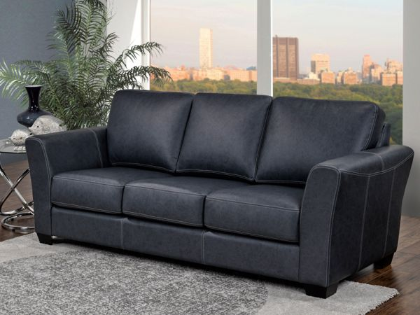 Bayview -  Living Room Luxury Black Leather Sofa by LeatherCraft Furniture - Manufacturer of Top Grain Leather Sofa based in Toronto, Canada having dealer in Brampton, Vaughan, Pickering, Mississauga, Oakville, Scarborough, Kingston, Sudbury, Quebec and Other provinces of Canada